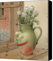 Flowers Drawings Canvas Prints - Jug and Roses Canvas Print by Kestutis Kasparavicius