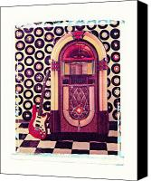 Electric Guitar Canvas Prints - Juke Box Polaroid transfer Canvas Print by Garry Gay
