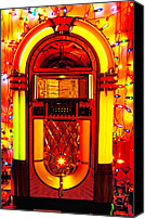 Music Tapestries Textiles Canvas Prints - Juke box with Christmas lights Canvas Print by Garry Gay