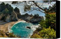 Peak One Canvas Prints - Julia Pfeiffer State Park Falls Canvas Print by Connie Cooper-Edwards