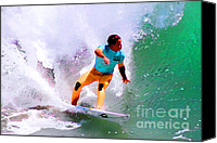 Kelly Slater Canvas Prints - Julian Wilson US Open Canvas Print by RJ Aguilar