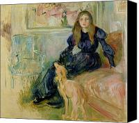 Stroking Canvas Prints - Julie Manet and her Greyhound Laerte Canvas Print by Berthe Morisot