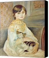 Oil Cat  Canvas Prints - Julie Manet with Cat Canvas Print by Pierre Auguste Renoir
