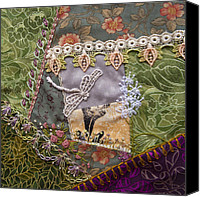 Embroidery Tapestries - Textiles Canvas Prints - July Canvas Print by Masha Novoselova