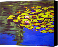 Clayton Painting Canvas Prints - July Waterlilies Canvas Print by Clayton Singleton