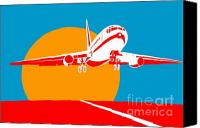 Sunset Digital Art Canvas Prints - Jumbo Jet  Canvas Print by Aloysius Patrimonio
