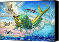 Dolphin Canvas Prints - Jumping Mahi Mahi And Flyingfish Canvas Print by Terry Fox