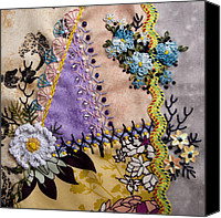 Embroidery Tapestries - Textiles Canvas Prints - June Canvas Print by Masha Novoselova