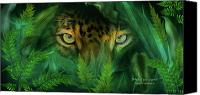 The Art Of Carol Cavalaris Mixed Media Canvas Prints - Jungle Eyes - Jaguar Canvas Print by Carol Cavalaris