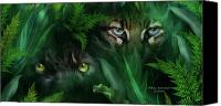 The Art Of Carol Cavalaris Mixed Media Canvas Prints - Jungle Eyes - Panther And Ocelot  Canvas Print by Carol Cavalaris