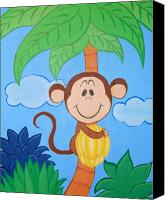 Nursery Artwork Drawings Canvas Prints - Jungle Monkey Canvas Print by Valerie Chiasson-Carpenter