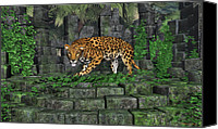 Bigcat Canvas Prints - Jungle Ruins Jaguar Canvas Print by Walter Colvin