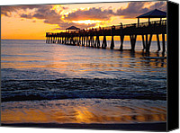Grouper  Canvas Prints - Juno Beach pier Canvas Print by Carey Chen