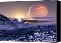 Planetary Canvas Prints - Jupiter From Europa, Artwork Canvas Print by Detlev Van Ravenswaay