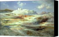 Yellowstone Park Canvas Prints - Jupiter Terrace Canvas Print by Thomas Moran