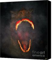 Frightening Digital Art Canvas Prints - Jurassic Terror Canvas Print by David Lee Thompson