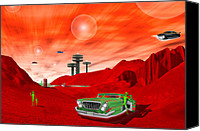 Ufo Canvas Prints - Just Another Day on the Red Planet 2 Canvas Print by Mike McGlothlen