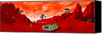 Ufo Canvas Prints - Just Another Day on the Red Planet Canvas Print by Mike McGlothlen