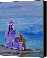 Woman In Water Photo Canvas Prints - Just Before Sunset Canvas Print by Leslie Allen