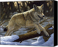 Wolf Painting Canvas Prints - Just for Fun Canvas Print by Crista Forest