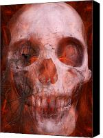 Halloween Digital Art Canvas Prints - Just Grining Canvas Print by Jean Gugliuzza