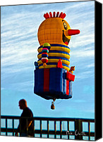 Strange Photo Canvas Prints - Just passing through  Hot Air Balloon Canvas Print by Bob Orsillo
