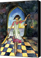 Justice Painting Canvas Prints - Justice Peeked Canvas Print by Cori Caputo