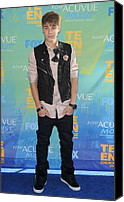 Black Tie Canvas Prints - Justin Bieber At Arrivals For 2011 Teen Canvas Print by Everett