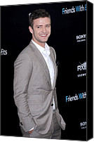 Gray Suit Canvas Prints - Justin Timberlake At Arrivals Canvas Print by Everett
