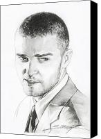 Singer Drawings Canvas Prints - Justin Timberlake Drawing Canvas Print by Lin Petershagen