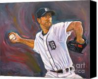 Mlb Painting Canvas Prints - Justin Verlander Throws a Curve Canvas Print by Nora Sallows