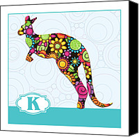 Kangaroo Painting Canvas Prints - K is for Kangaroo Canvas Print by Elaine Plesser