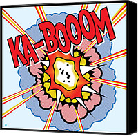 Cartoon Canvas Prints - Ka-Booom Canvas Print by Gary Grayson