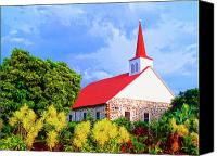 Kaanapali Mixed Media Canvas Prints - Kahikolu Congregational Canvas Print by Dominic Piperata