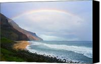 Kalalau Canvas Prints - Kalalau Beach Rainbow Canvas Print by Kevin Smith