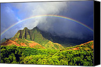 Kevin W. Smith Mixed Media Canvas Prints - Kalalau Valley Rainbow Canvas Print by Kevin Smith
