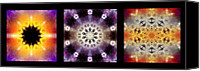 Triptych Canvas Prints - Kaleidoscope - Triptych Canvas Print by Ellen Lacey