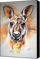 Kangaroo Canvas Prints - Kangaroo Big Red Canvas Print by Sandra Phryce-Jones