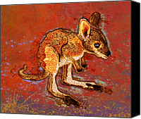 Joey Canvas Prints - Kangaroo Joey Canvas Print by Mary Ogle