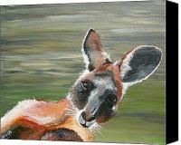 Kangaroo Painting Canvas Prints - Kangaroo  Canvas Print by Una  Miller
