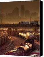 Kansas City Canvas Prints - Kansas Citiy Rail Yards Canvas Print by Don Wolf