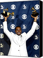 Awards Canvas Prints - Kanye West In The Press Room For 47th Canvas Print by Everett