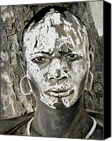 Figurative Art Canvas Prints - Karo Man Canvas Print by Enzie Shahmiri