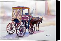 Horse Carriage Canvas Prints - Karozzin Canvas Print by Marsha Elliott