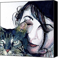 Singer Songwriter Painting Canvas Prints - Kate and her Cat Canvas Print by Paul Lovering