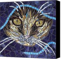 Cat Glass Art Canvas Prints - Kath Canvas Print by Barbara Benson Keith