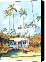 House Painting Canvas Prints - Kauai Cottage Canvas Print by Marionette Taboniar