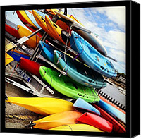 Matthew Green Canvas Prints - Kayaks for Rent in Rockport Canvas Print by Matthew Green