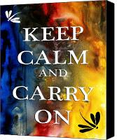 Turquoise And Rust Canvas Prints - Keep Calm and Carry On by MADART Canvas Print by Megan Duncanson