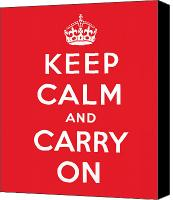 Style Painting Canvas Prints - Keep Calm And Carry On Canvas Print by English School